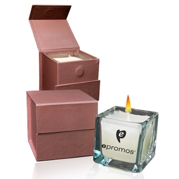 This #custom square glass candle adds a soft glow and a sweet aroma to  #wedding receptions. It's packaged in a cute gift box made from recycled paper.