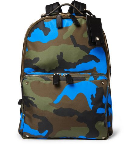 Valentino Camouflage-Print Leather and Canvas Backpack | MR PORTER