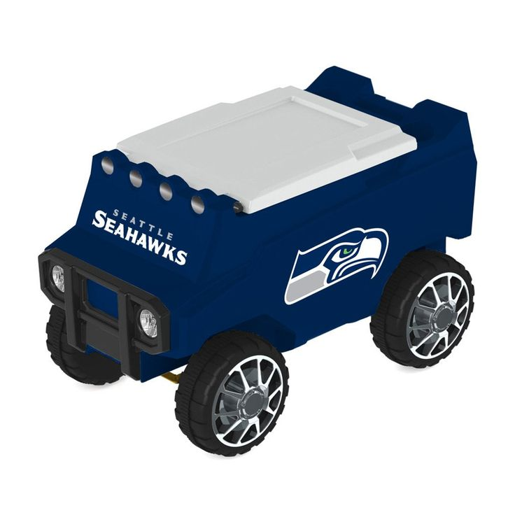 Buckle up, you in for a fun ride!  Zip in and out of the crowd with this amazing remote control cooler.  The Seattle Seahawks Rover is an amazing combination of fun and function featuring a mold construction body (just like the Yeti coolers), strong enough to hold 30 -12 oz. cans plus sturdy enough to be additional seating.  The foam insulation keeps your snacks cold for hours plus two convenient cup holders help deliver your beverages.  Bluetooth speakers have been built into the frame as…