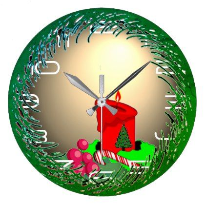 Old-fashioned Christmas Large Clock - vintage gifts retro ideas cyo