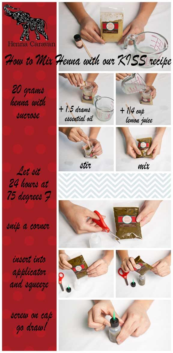 How to make henna and fill your applicator bottle. Quick tutorial