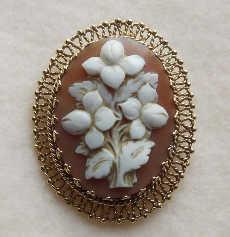 14K Gold Carved Shell Cameo Flowers Brooch or Pendant - Signed Hobe