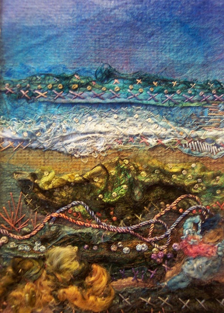 """#4 Silk Scape"" embroidery on silk handmade paper by Deebs Fiber Arts. Looks like the ocean."