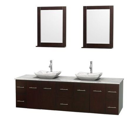 Wyndham Collection Centra 80 inch Double Bathroom Vanity in Espresso, White Carrera Marble Countertop, Avalon White Carrera Marble Sinks, and 24 inch Mirrors