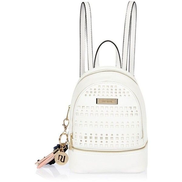 River Island White laser cut backpack ($52) ❤ liked on Polyvore featuring bags, backpacks, bags / purses, white, women, tassel bag, handle bag, white bags, zip bags and white rucksack