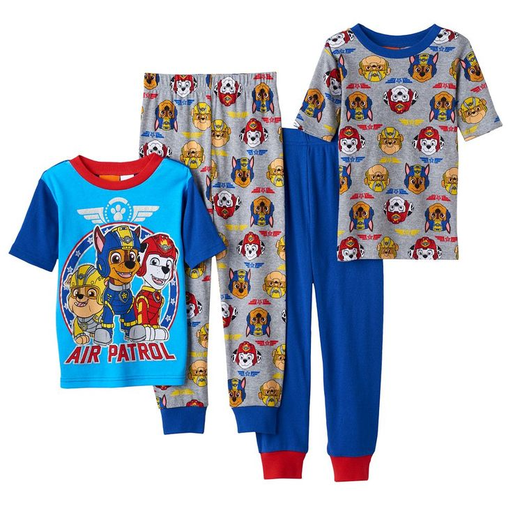 Boys 4-8 Paw Patrol 4-Piece Pajama Set, Size: 4, Multicolor