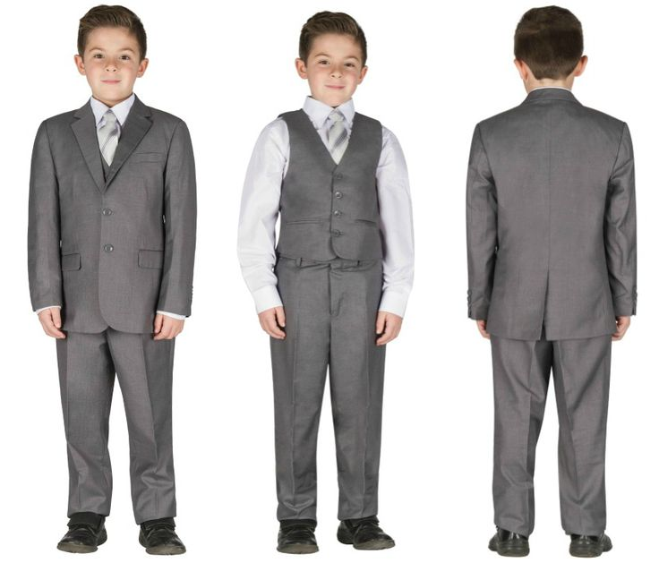 Grey 5 pieces formal chic wedding suit for kids tuxedo #wow #suit #chic #amazing #fashion #boy #children #life #event #wedding