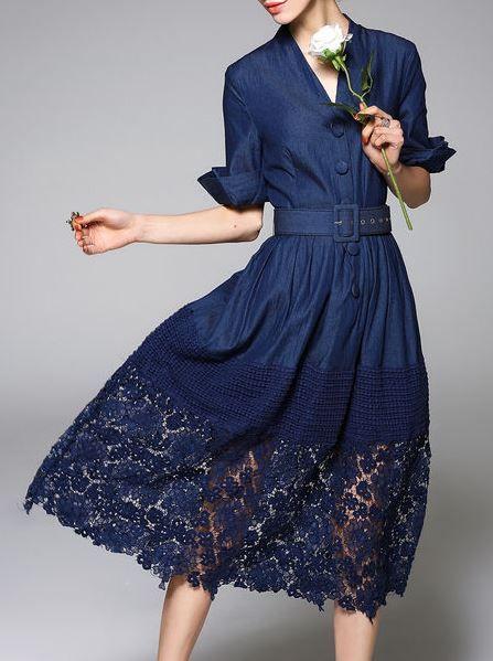 MOOERKERR Lace Paneled Denim Midi Dress with Belt.  Stylewe.com