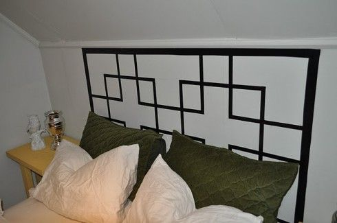 Faux headboard made w/tape.  Would be neat w/washi tape