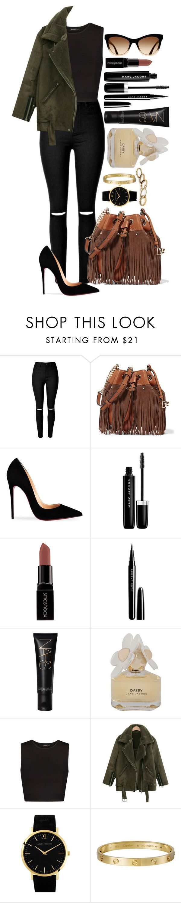 """Untitled #1438"" by fabianarveloc ❤ liked on Polyvore featuring Diane Von Furstenberg, Christian Louboutin, Marc Jacobs, Smashbox, Marc by Marc Jacobs, MANGO, Larsson & Jennings and Giallo"