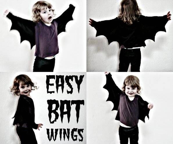 crédit photo My Poppet  Pour Halloween, ou même pour un anniversaire déguisé, ces ailes de chauve-souris trouvées sur le blog My Poppet sont faciles à fabriquer à partir de tissu en jersey noir (si vous avez un t-shirt noir à recycler, c'est parfait!) ! En suivant les instructions, vous pourrez coudre des ailes pour toute la famille. Instructions Vous aurez besoin de tissu en jersey noir (qui ne s'effiloche pas) et d'un mètre de couturière pour mesurer la longueur entre les 2 poignets en ...