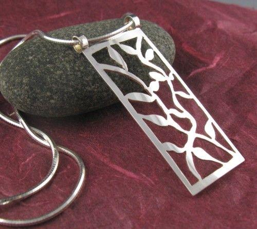 Sterling zilveren wijnstokken hanger-handgemaakte