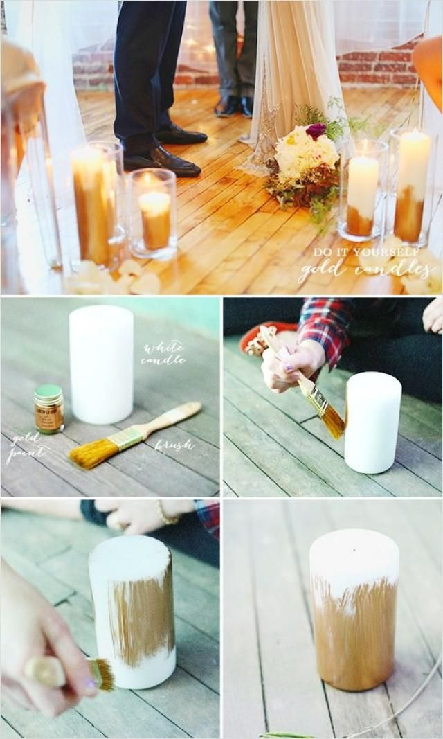 do it yourself gold candles, possible idea for reception tables but with the wedding colors?