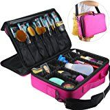 """Travelmall Professional Makeup Train Case Cosmetic organizer Make Up Artist Box 3 layer Large size with Adjustable Shoulder for Makeup Brush set Hair style nail beauty tool 16.54"""" 11.42""""5.51"""" PINK"""