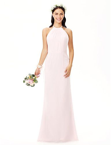 5bcd0b6d89 Sheath / Column Jewel Neck Floor Length Chiffon Bridesmaid Dress with  Pleats by LAN TING BRIDE®