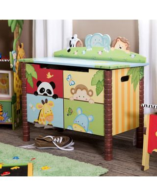 Design Your Nursery in Kate Middleton's Royal Baby Style: Sunny Safari Toy Box and Rocking Chair (via Parents.com)