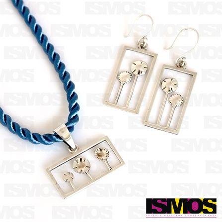 ISMOS Joyería: juego de aretes y dije de plata // ISMOS Jewelry: silver pendant and earrings set