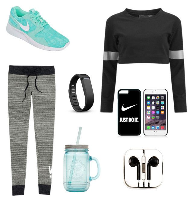 #running #nike #vs #sport #justdoit by sch-csilla on Polyvore featuring polyvore, fashion, style, Norma Kamali, Victoria's Secret, NIKE, Fitbit, PhunkeeTree and ALADDIN
