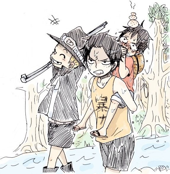 Sabo, Portgas D. Ace and Monkey D. Luffy