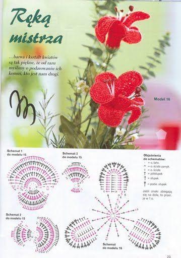 fiori uncinetto orchidee rosse