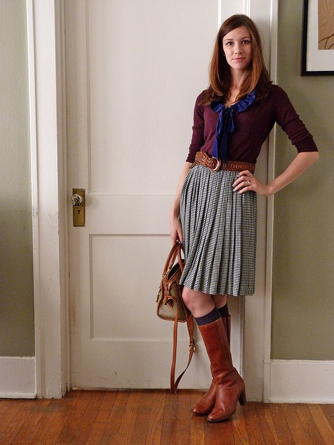 navy t gray pleated skirt brown boots and belt dress