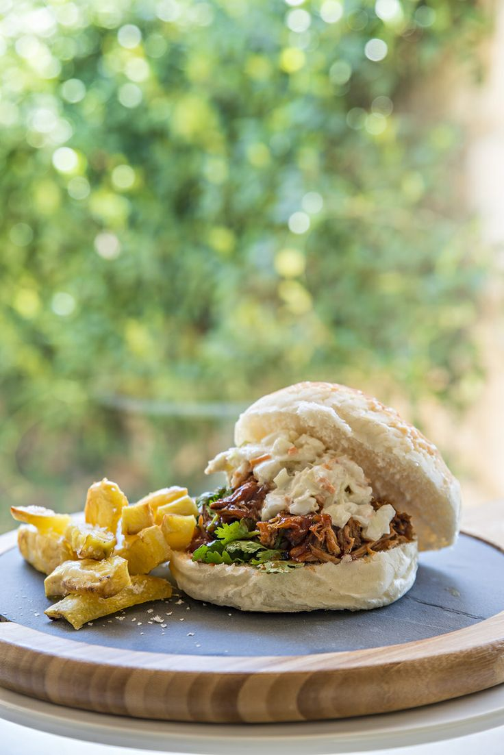 Pulled pork with coleslaw and duck fat chippies