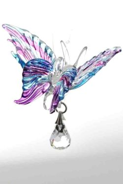 Hand blown, hand painted glass Butterfly with a Swarovski Crystal only £7.95