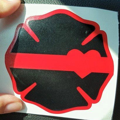Thin Red Line Heart Decal by ScarlettDesignsSC on Etsy