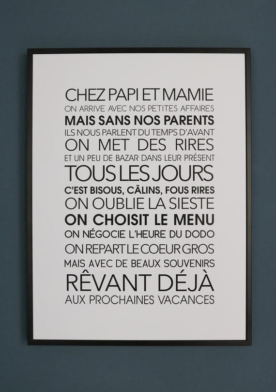Affiche Exclusive Chez Papi Et Mamie Citation Famille Affiche