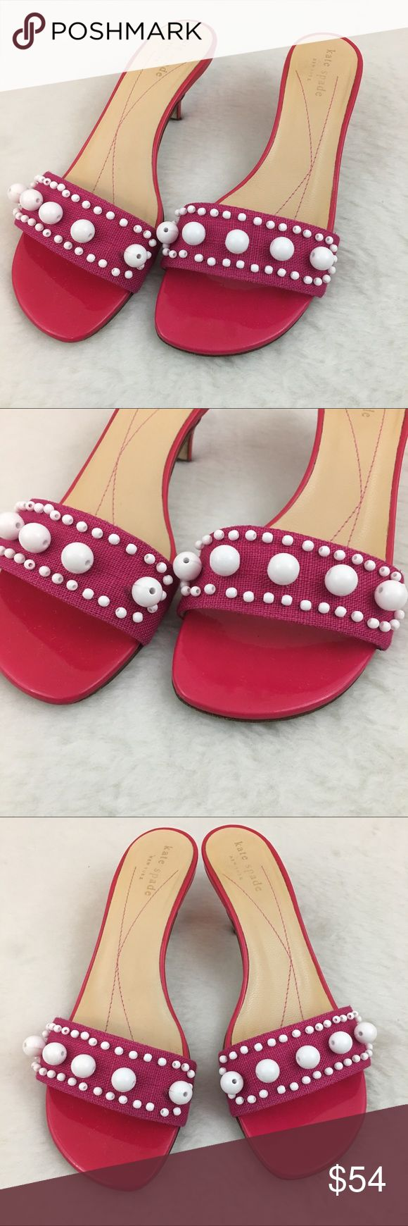 Kate Spade Pink Kitten Heel Sandals Size 6.5 Great condition.  Pet and smoke free environment. kate spade Shoes Heels
