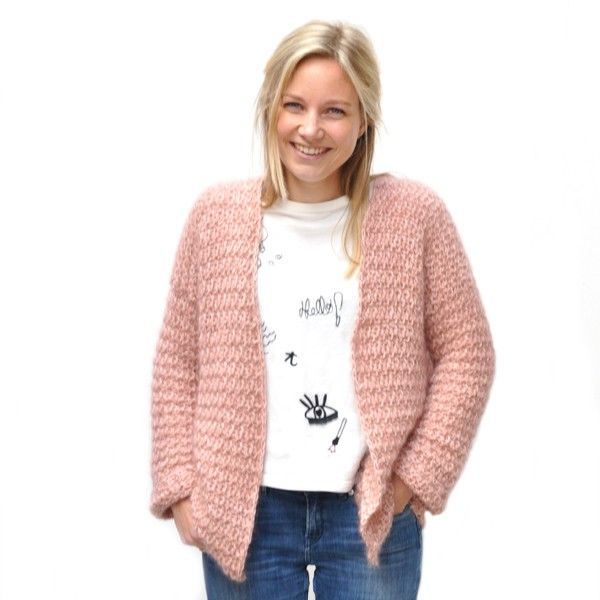 The trendy Bernadette Cardigan is now available in a crocheted version!