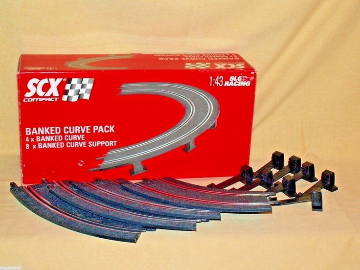 SCX Slot Car Track 1:43 Scale NIB Banked Curve Pack Complete Supports 2008 31400 #JecnitoysJuguelesSCX