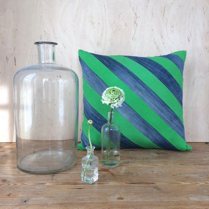 Recycled denim. Linen. Pillowcase. Patchwork. Etsy vintage. By Johanna Sandberg.
