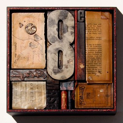 Assorted books, papers, number, etc. #assemblage #art, by Janet Jones