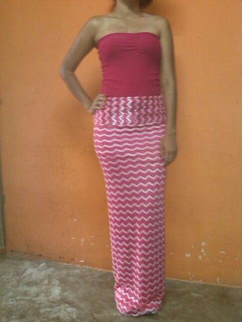 Falda larga estilo pitillo