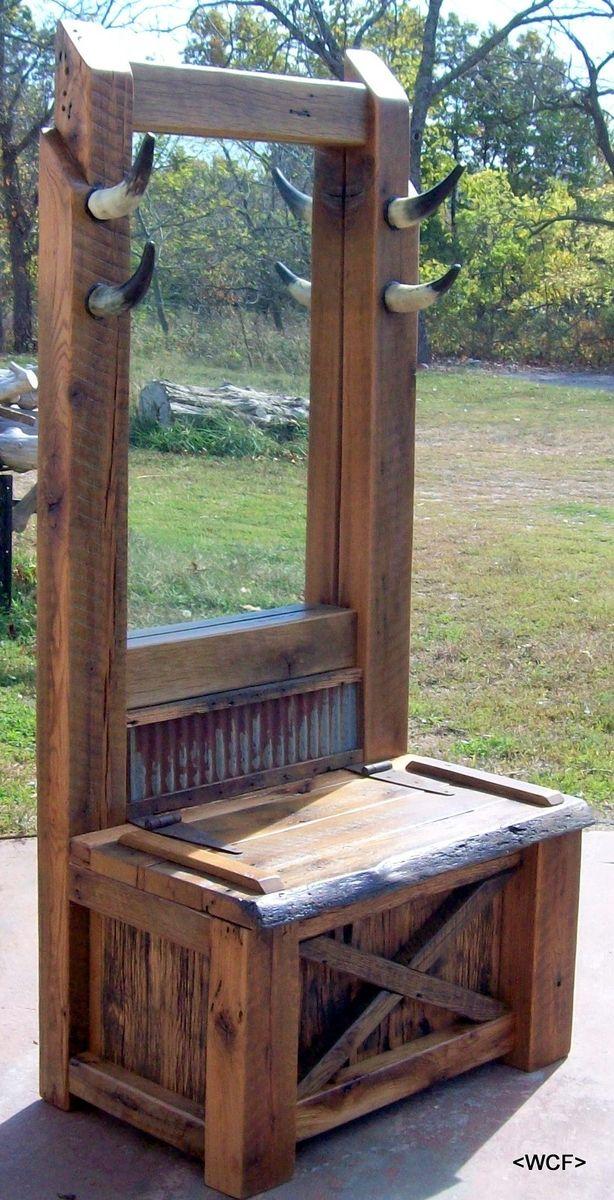 Custom Made Reclaimed Oak Western Style Hall Tree by Wilson Creek Furniture