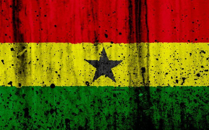 Download wallpapers Ghanaian flag, 4k, grunge, flag of Ghana, Africa, Ghana, national symbols, Ghana national flag