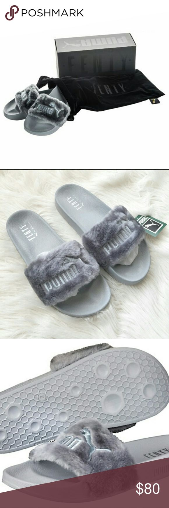 Grey Fenty Fur Slides Grey puma fenty fur slides *Box NOT included **Comes with Black velvet Fenty dust bag  Unopened Brand new in puma bag Reasonable offers welcome:) negotiable by $10 only due to seller fee. *Bundle to save on shipping Shoes