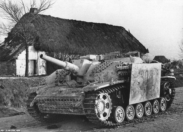 German assault howitzer StuH 42 Ausf.G (L/28) abandoned by the Germans during the retreat, Ukraine, 1944
