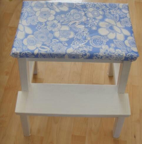 Stepstool covered with kidston oilcloth