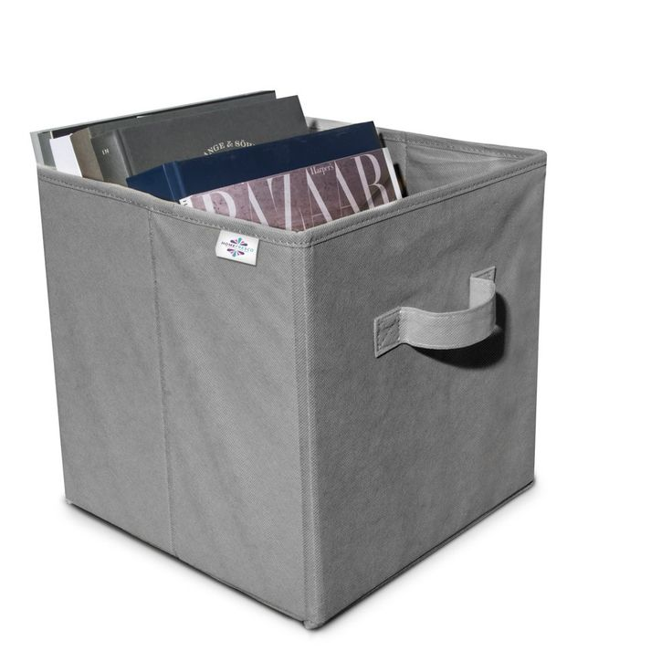 Six Grey Collapsible Storage Containers With Reinforced Bottom: Storage Bins  That Slide Together For A