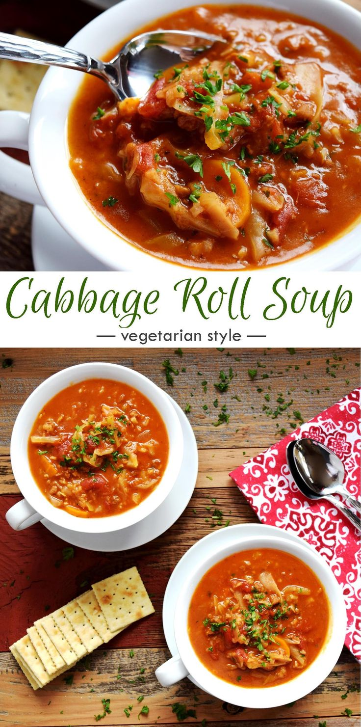 Cabbage Roll Soup Vegetarian Style