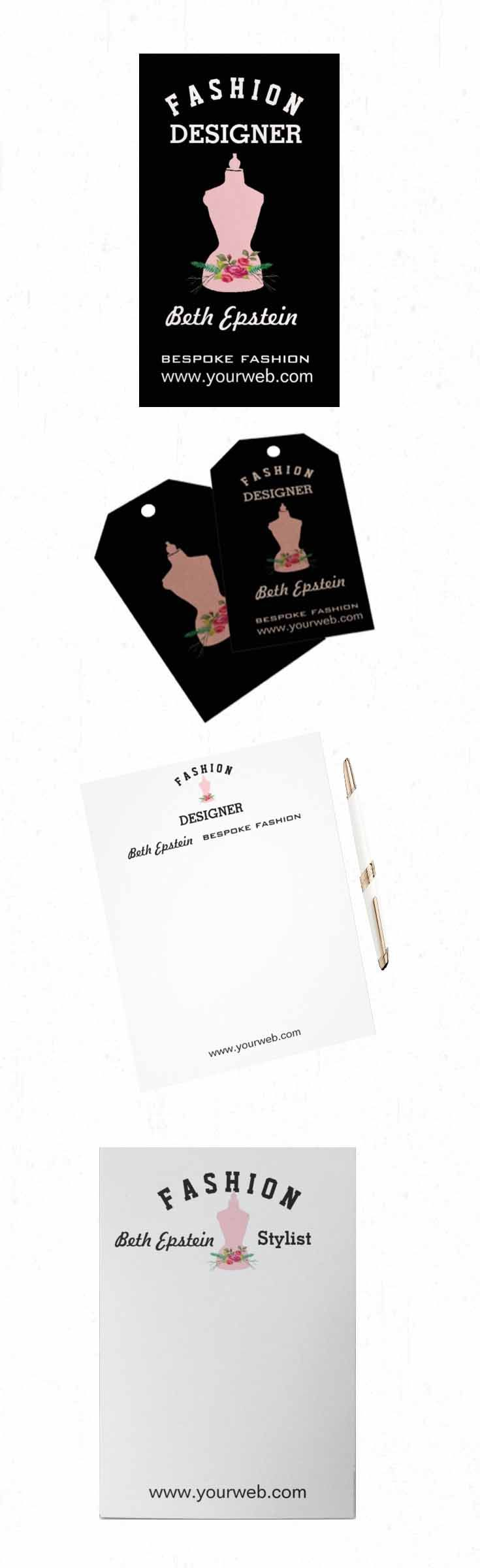 Fashion Pink Vintage Retro Mannequin design illustration on business cards, letterheads, note pads and other business marketing office supplies. Great for fashion designers, bespoke tailoring, seamstress, fashion stylists and more.