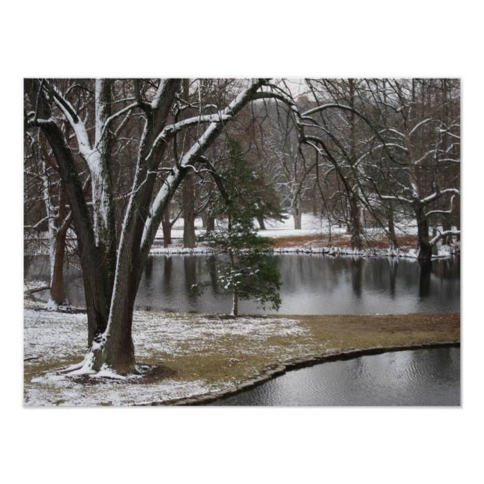 Customizable #Blue#Starling #Cincinnati #December #Elegant #Evergreen #Landscape #Monotone #Nature#Lover #Photograph #Pond #Reflections #Snow #Spring#Grove#Cemetery#Arboretum #Subdued #Trees #Water #Winter #Winter#Landscape Winter Pond Landscape Poster available WorldWide on http://bit.ly/2hQMpwL