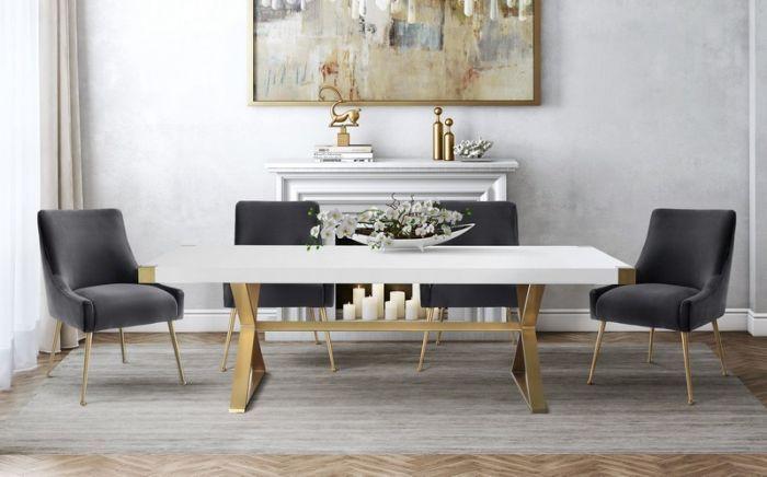 Tov Furniture Tov G5496 Adeline White Gold Dining Table Dining Table Gold Gold Dining Rectangular Dining Table