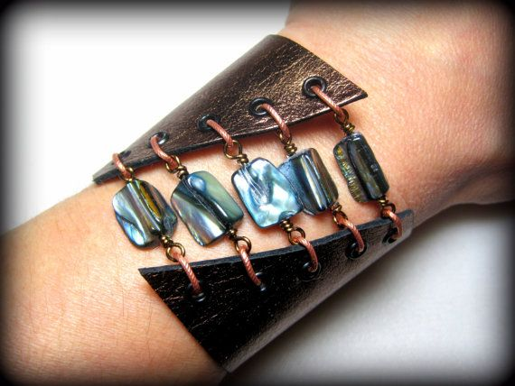 Steampunk Leather Corset Cuff Bracelet with by SmitherineDesigns, $44.00