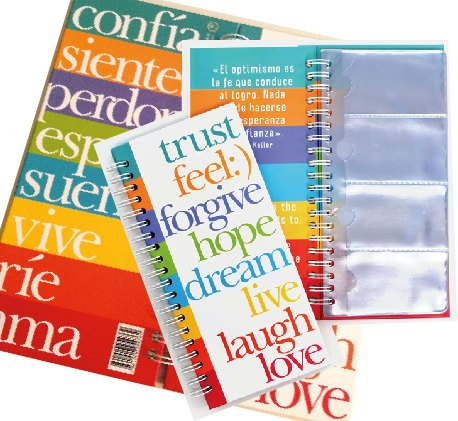 Business card organizer and holder bilingual love peace and faith messages.