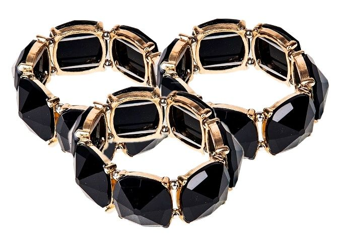 Damska czarna złota bransoletka geometric EdiBazzar