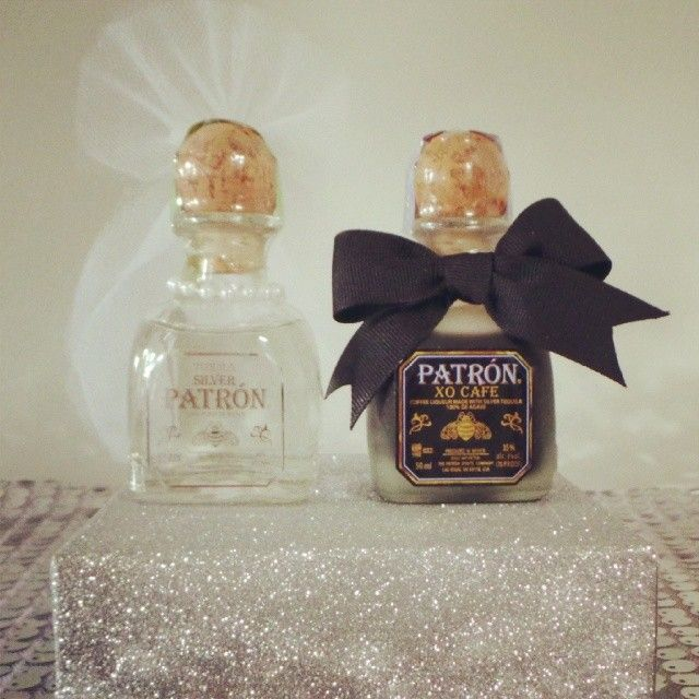 Wedding Favors, Bride and Groom Patron Favors, Mr. & Mrs. Patron Favors, Patron Wedding Favor - Mini Silver Patron and XO Patron hand decorated by Love Is In Details.  www.loveisindetails.com