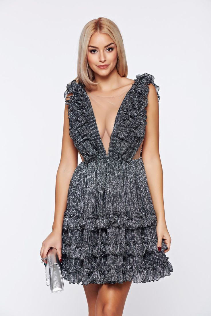 "Ana Radu silver occasional dress from tulle with ruffle details, flaring cut, back zipper fastening, inside lining, with ruffle details, ""V"" cleavage, bare back, sleeveless, net, women`s dress"